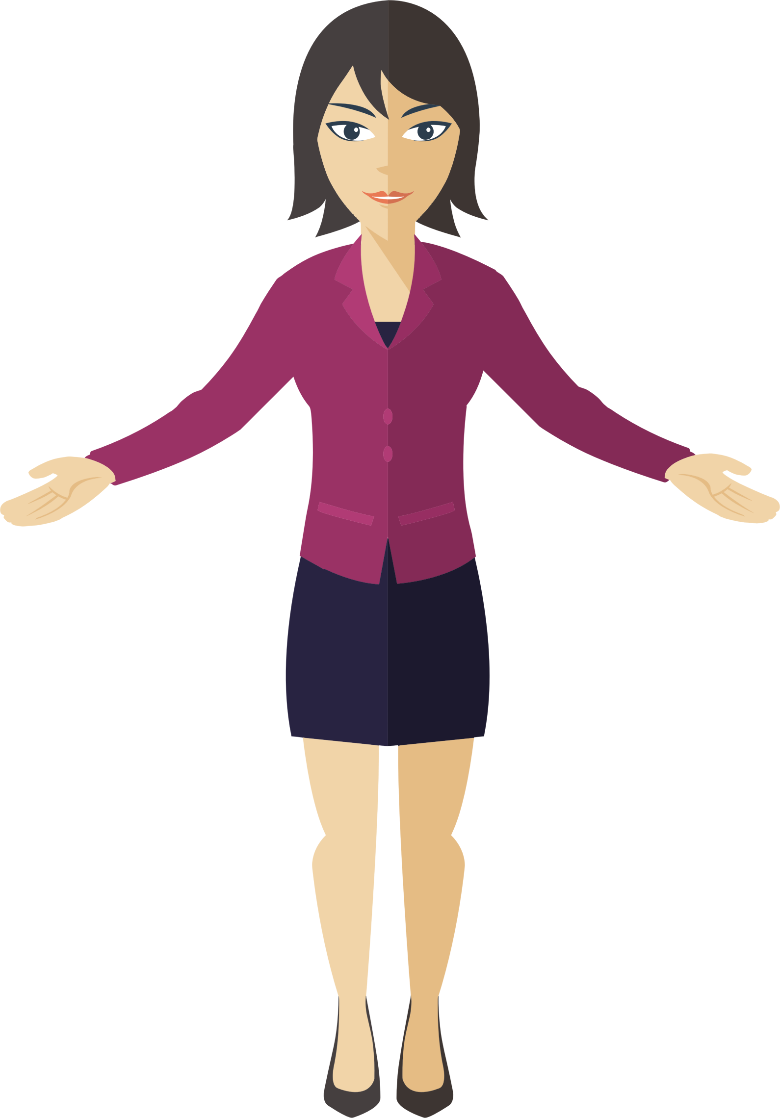 Woman cartoon png. Flat shaded business icons