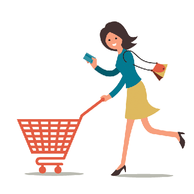 Shopping the arts image. Woman clipart graphic download