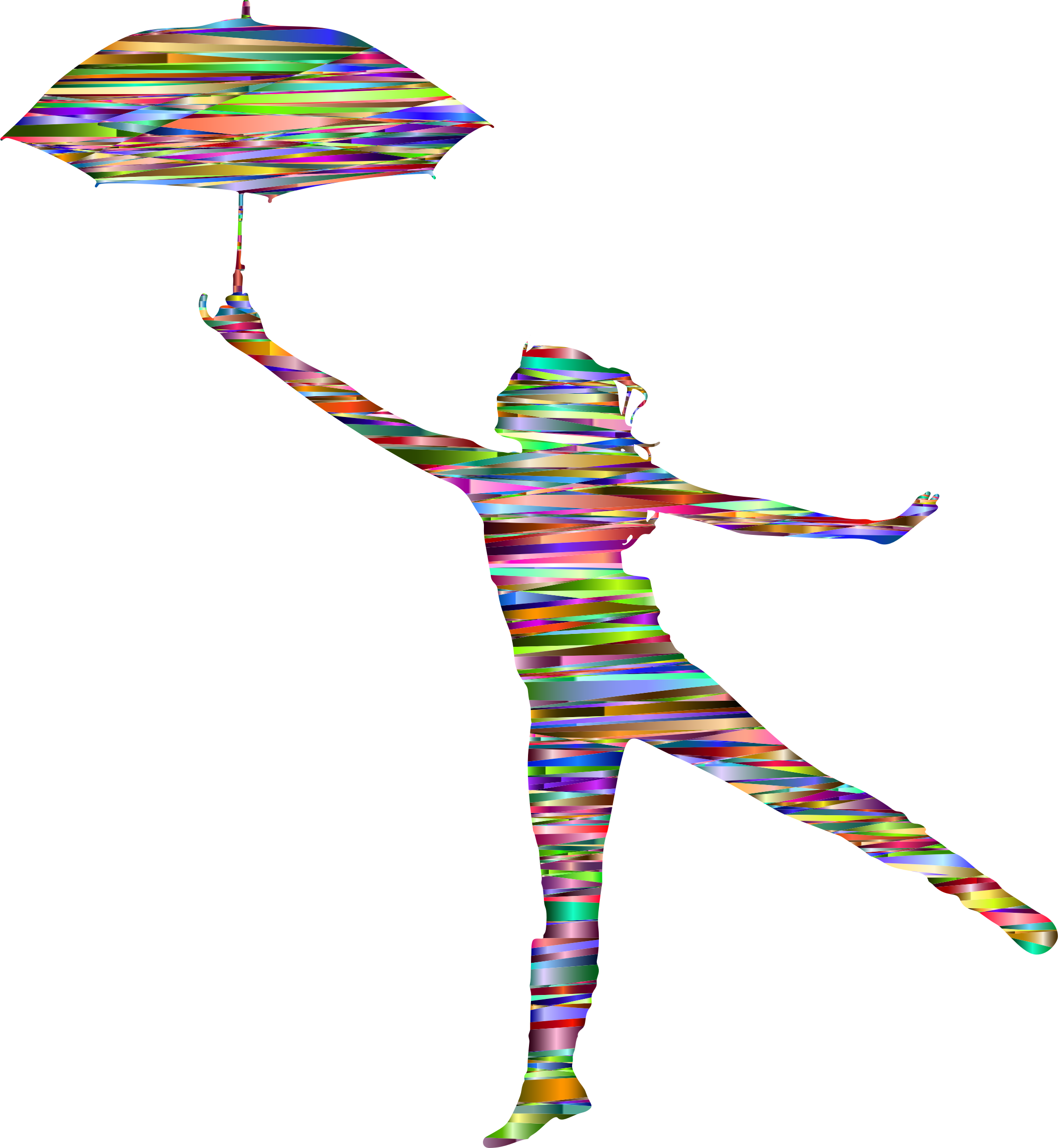 Chromatic with umbrella silhouette. Woman clipart abstract clipart royalty free stock