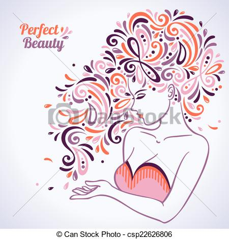 Woman clipart abstract. Beautiful portrait with hair jpg stock