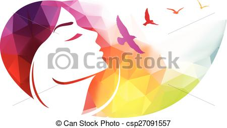 Woman clipart abstract. Modern background with face clip black and white library
