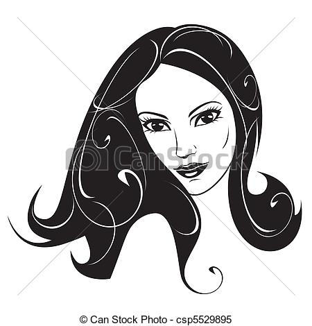 Black and white portrait. Woman clipart abstract image library stock