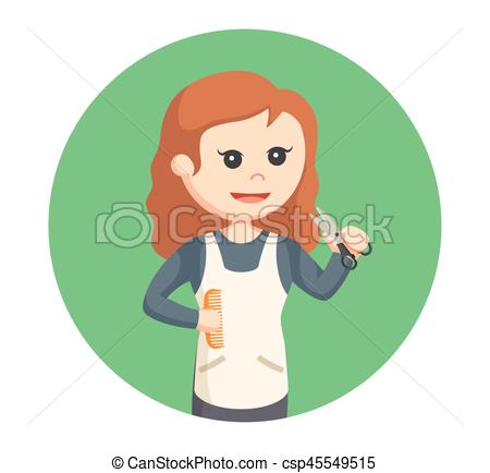 Female with scissors and. Woman clipart barber clipart royalty free