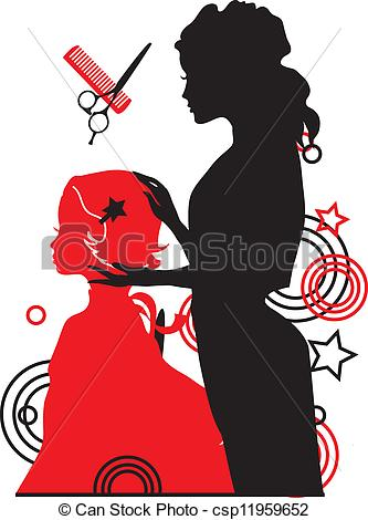 Woman clipart barber. And a girl vector vector library library