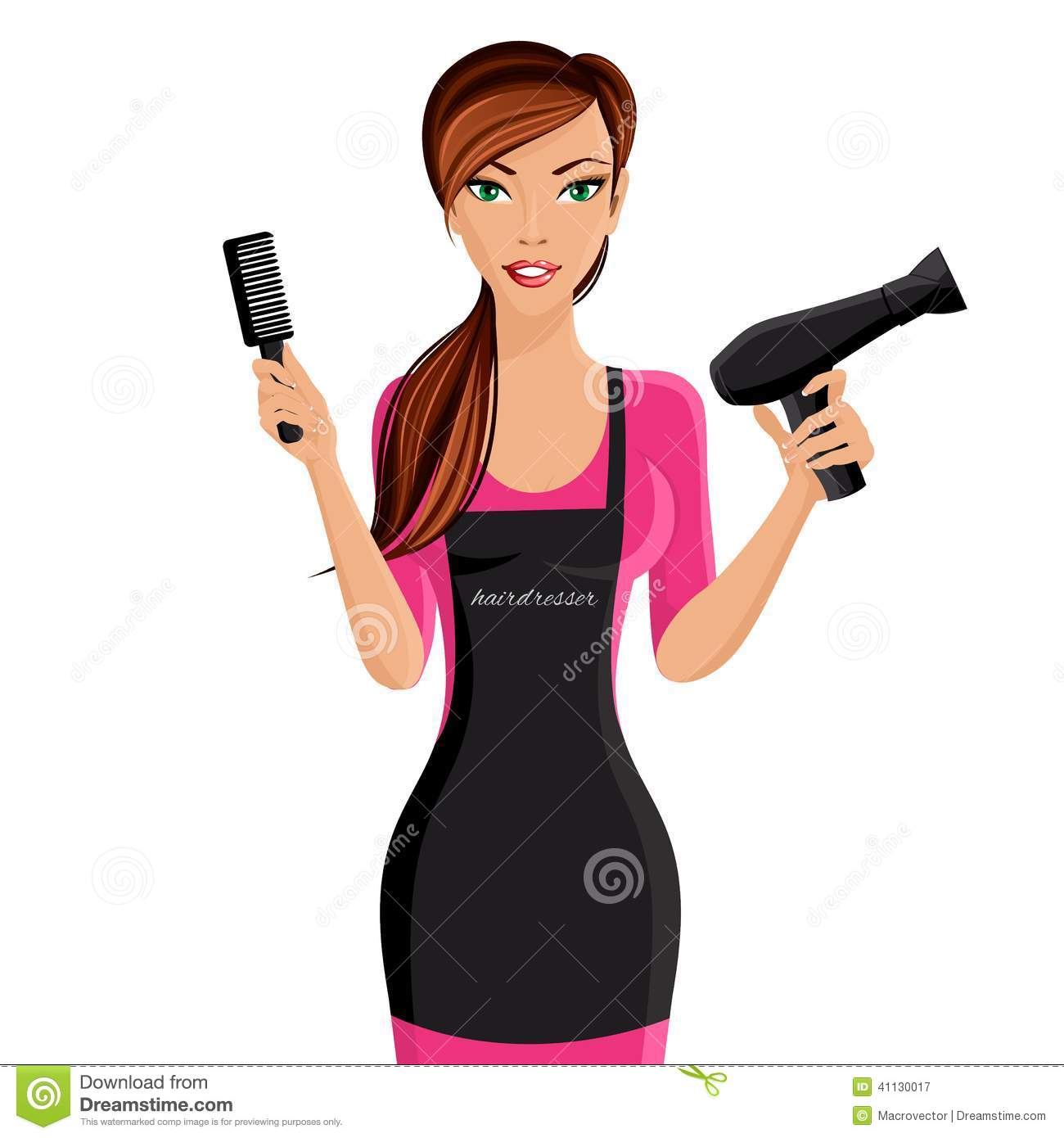 Hairdresser portrait stock vector. Woman clipart barber vector library download