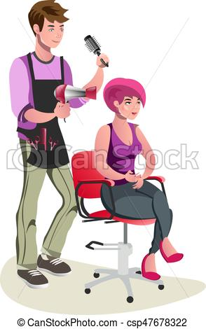 Cute character shop cartoon. Woman clipart barber clipart free library