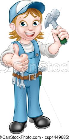 Cartoon holding hammer a. Woman clipart carpenter black and white download