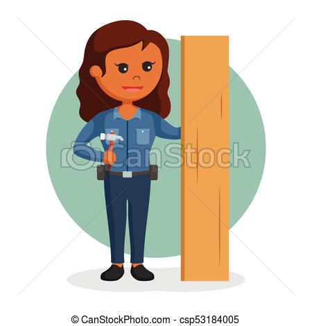 With hammer and wood. Woman clipart carpenter picture freeuse download