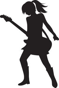 Imagenes diva girl silhouette. Woman clipart guitar vector black and white library