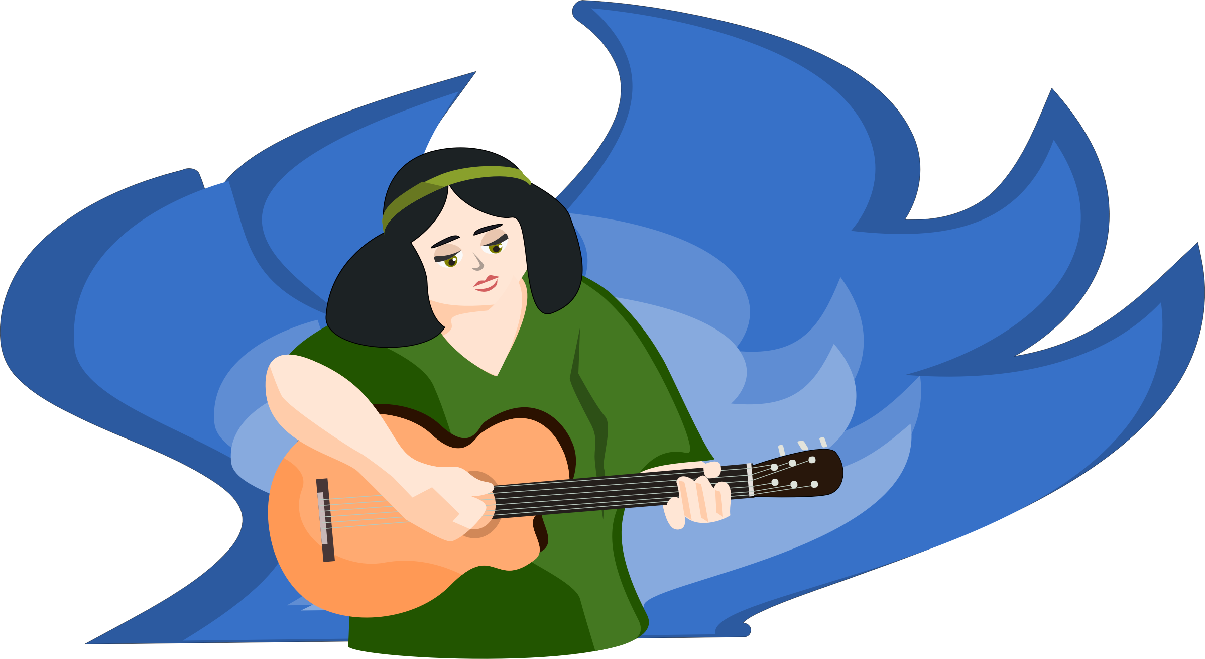 Woman clipart guitar. Bard playing gitar big