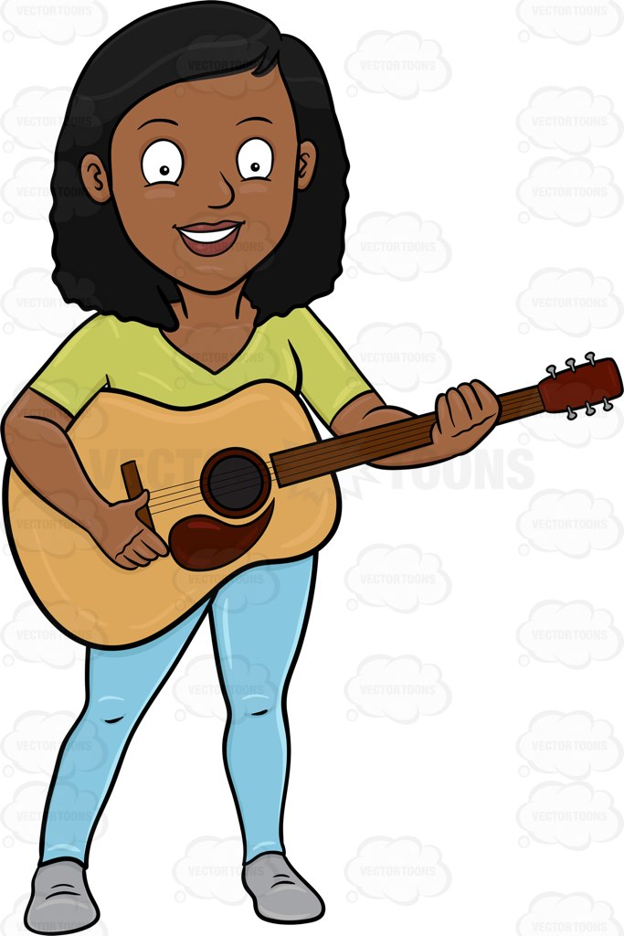 Woman clipart guitar. A cheerful black playing banner library stock