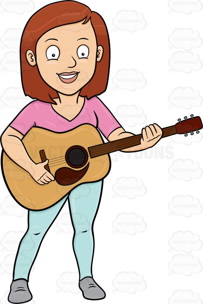Woman clipart guitar. A cheerful playing classic jpg transparent library