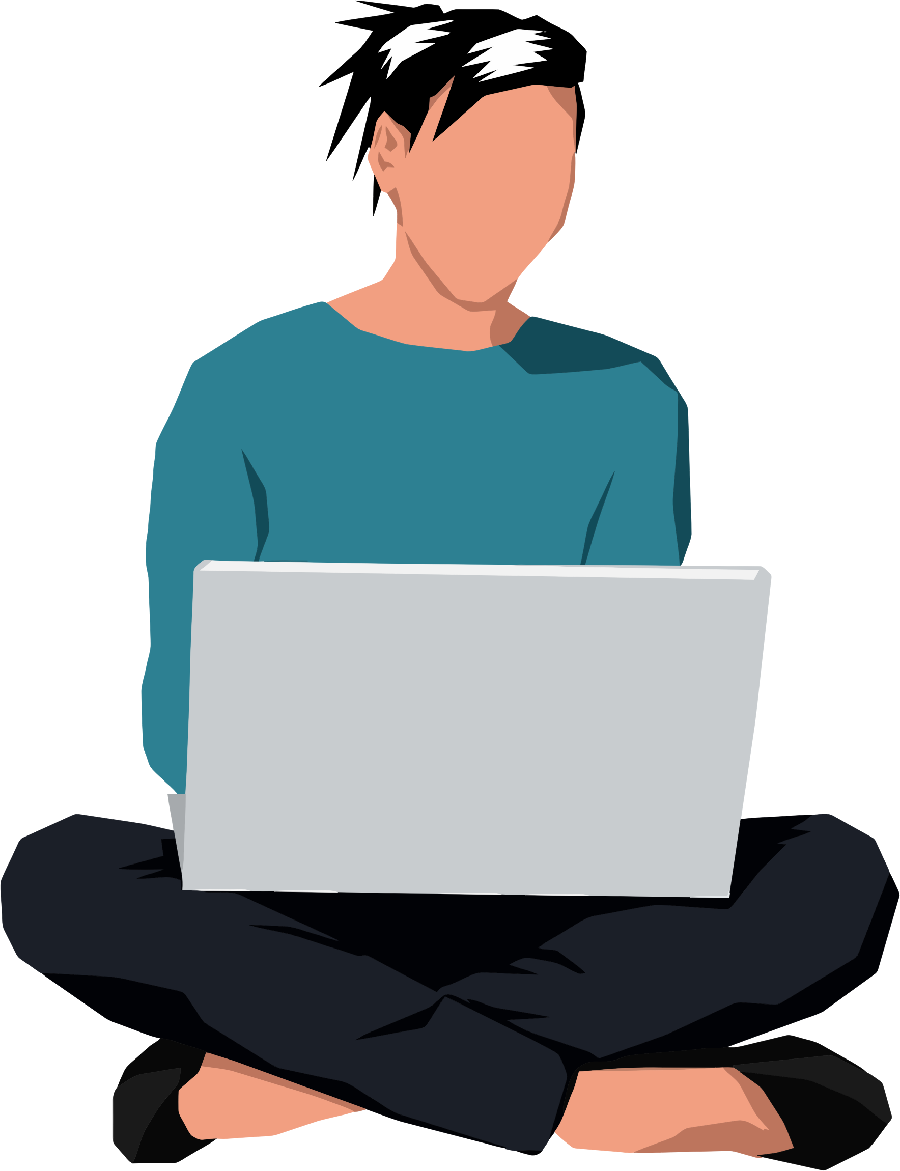 Woman clipart laptop. Sitting down with big