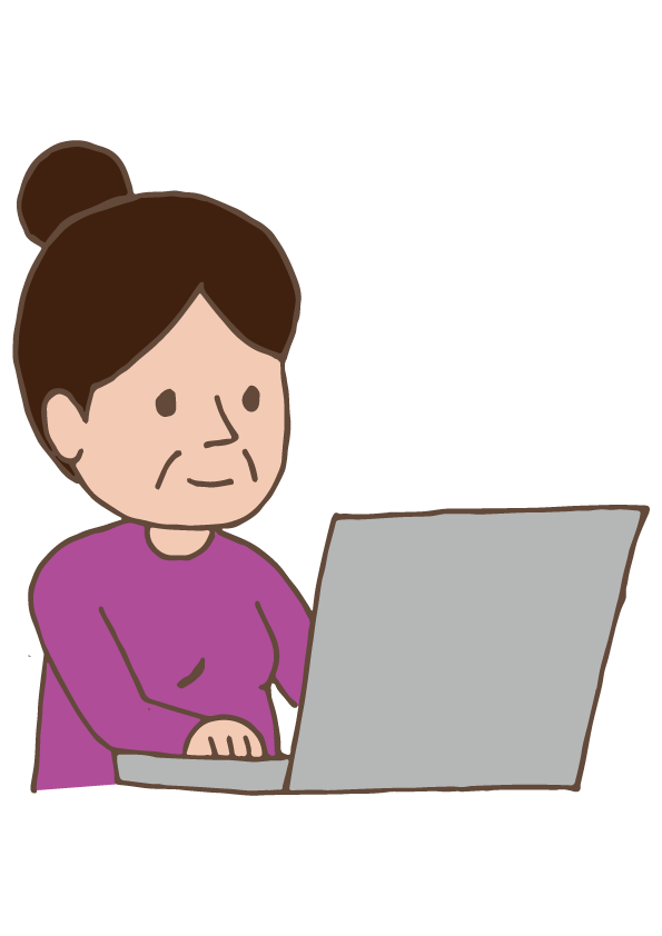 Woman clipart laptop. Old lady using free