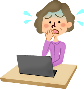 Woman clipart laptop. Panicked senior in front