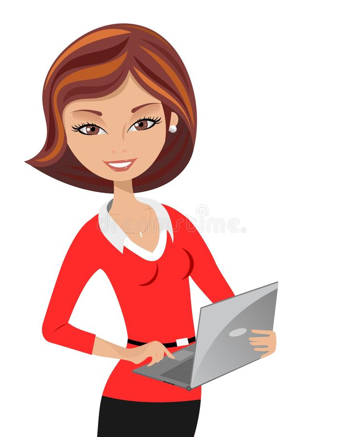 Smiling office stock vector. Woman clipart laptop jpg library stock