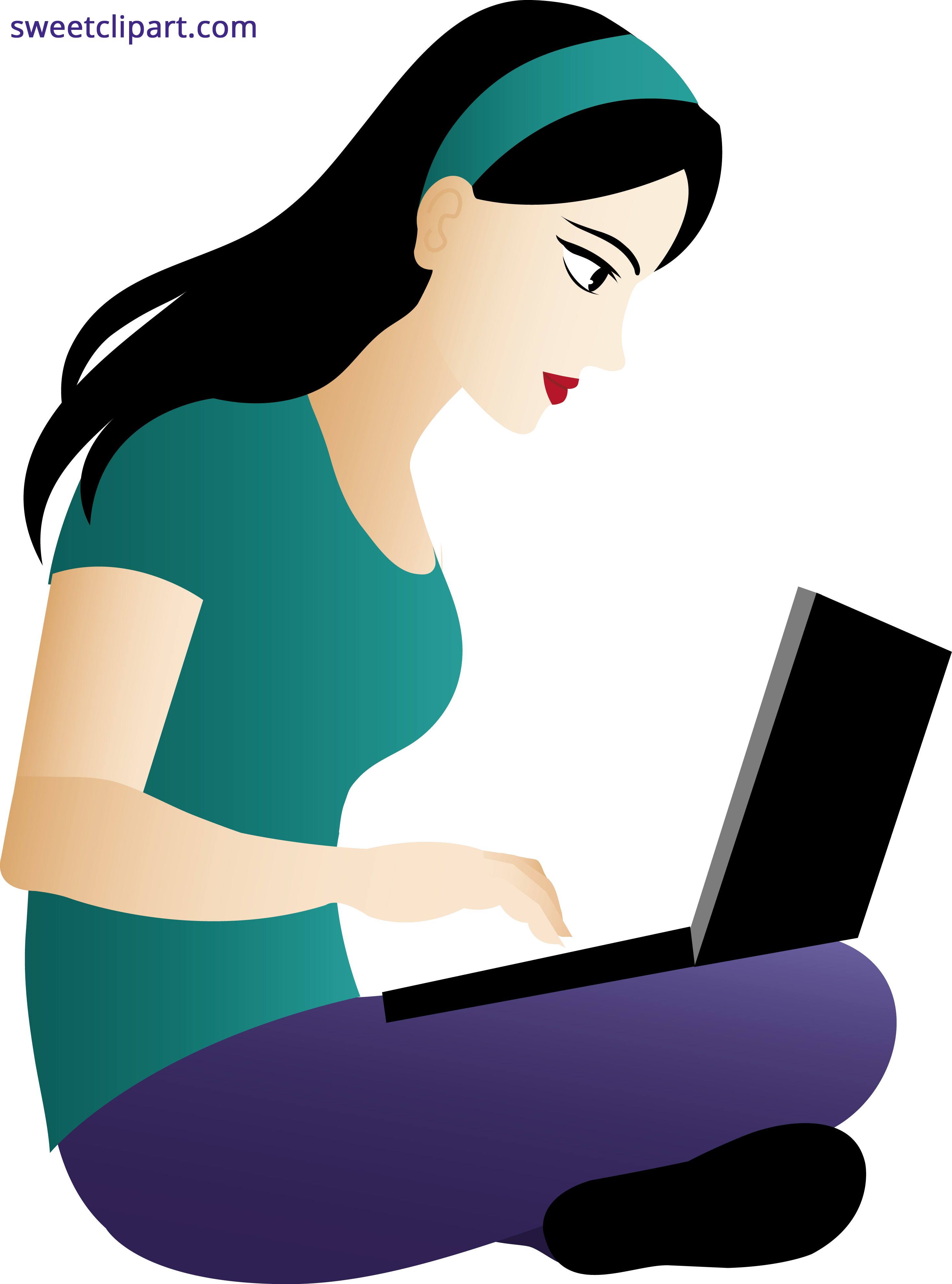 Young clip woman. Using laptop clipart sweet