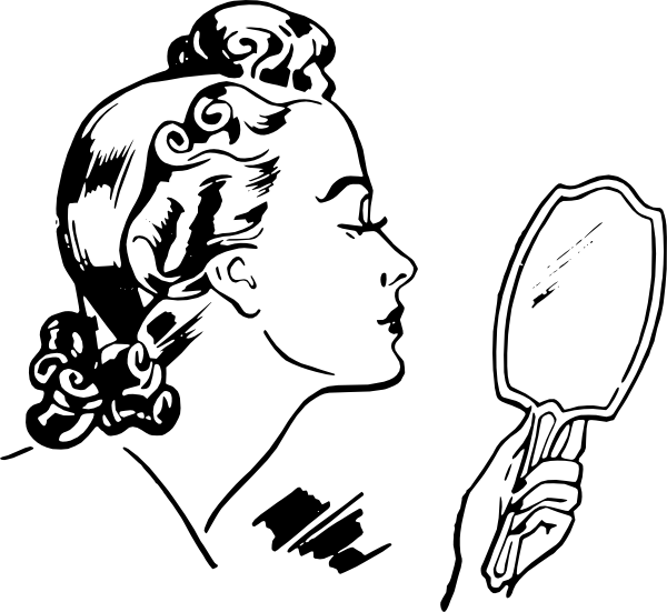 Woman clipart mirror. Retro looking clip art