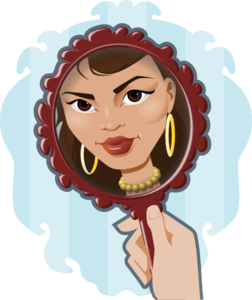 Looking in clip art. Woman clipart mirror vector free