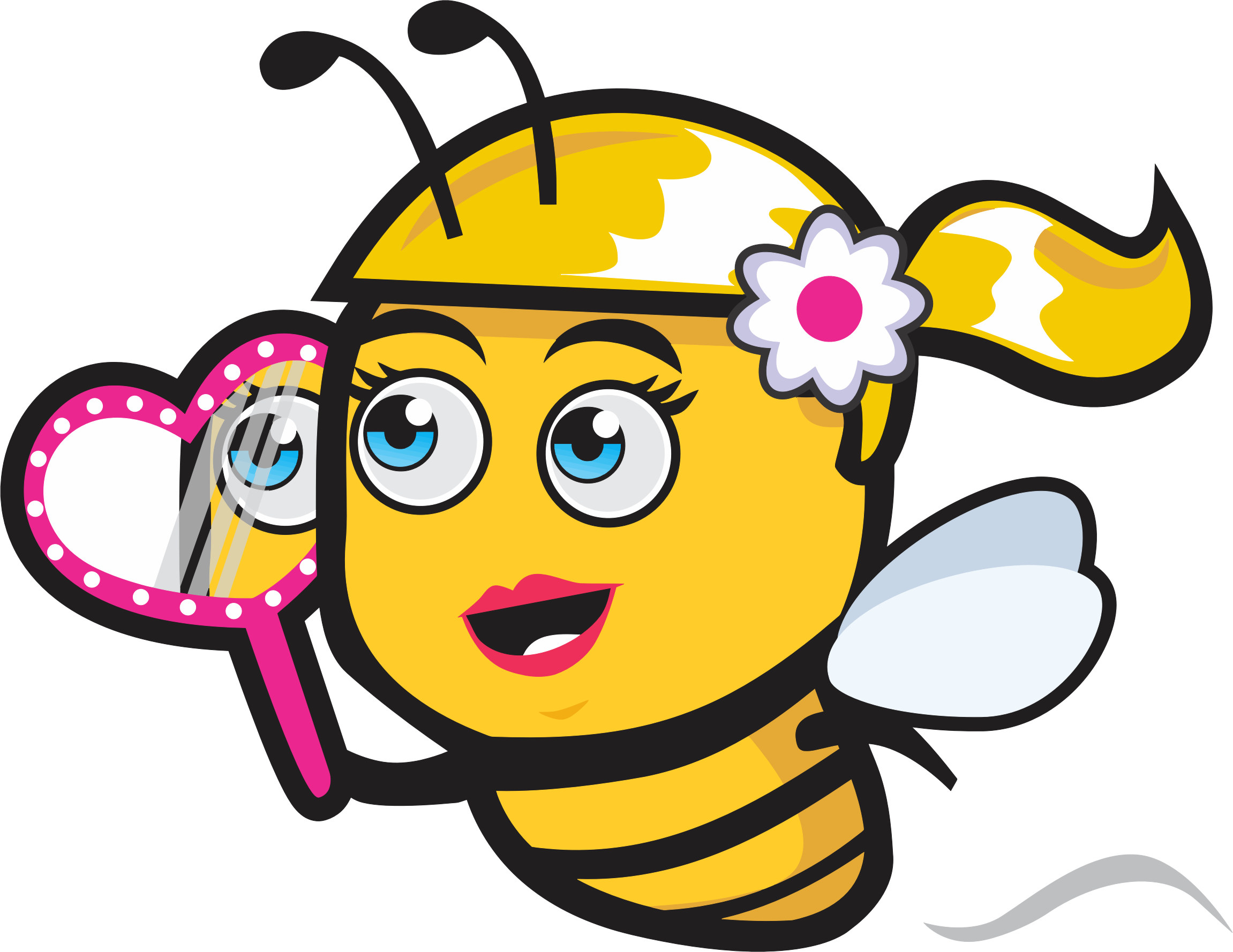 Woman clipart mirror. Female bee with big