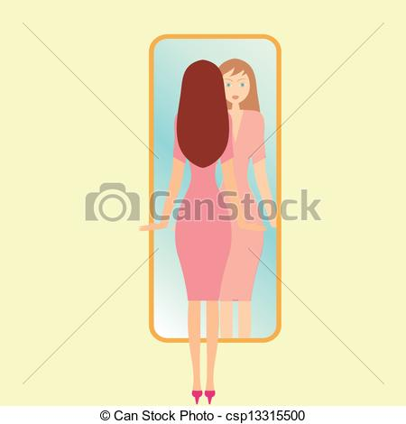 Illustration of a girl. Woman clipart mirror png free stock