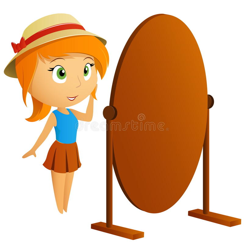 Woman clipart mirror. Beautiful girl looking in svg free stock