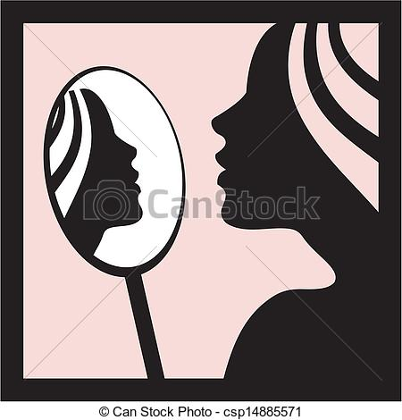 With vector young illustration. Woman clipart mirror vector transparent library