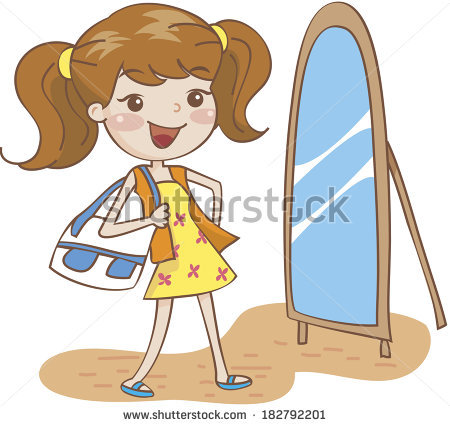 Woman clipart mirror. Standing front stock illustration vector freeuse
