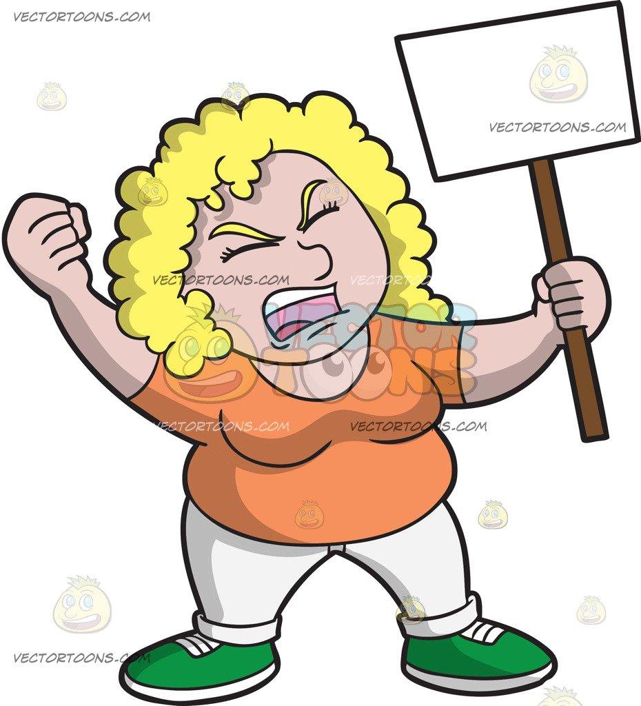 A in for her. Woman clipart protest svg black and white library
