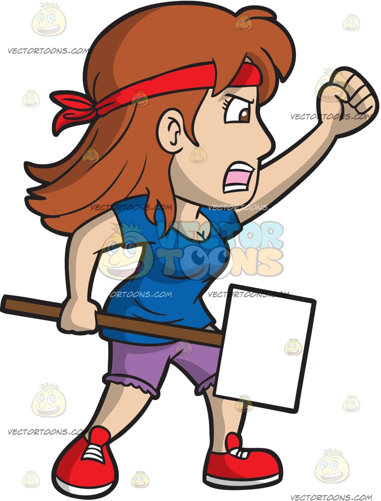 Woman clipart protest. A female street protester png