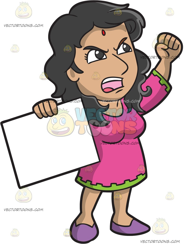 An indian in cartoon. Woman clipart protest picture library library