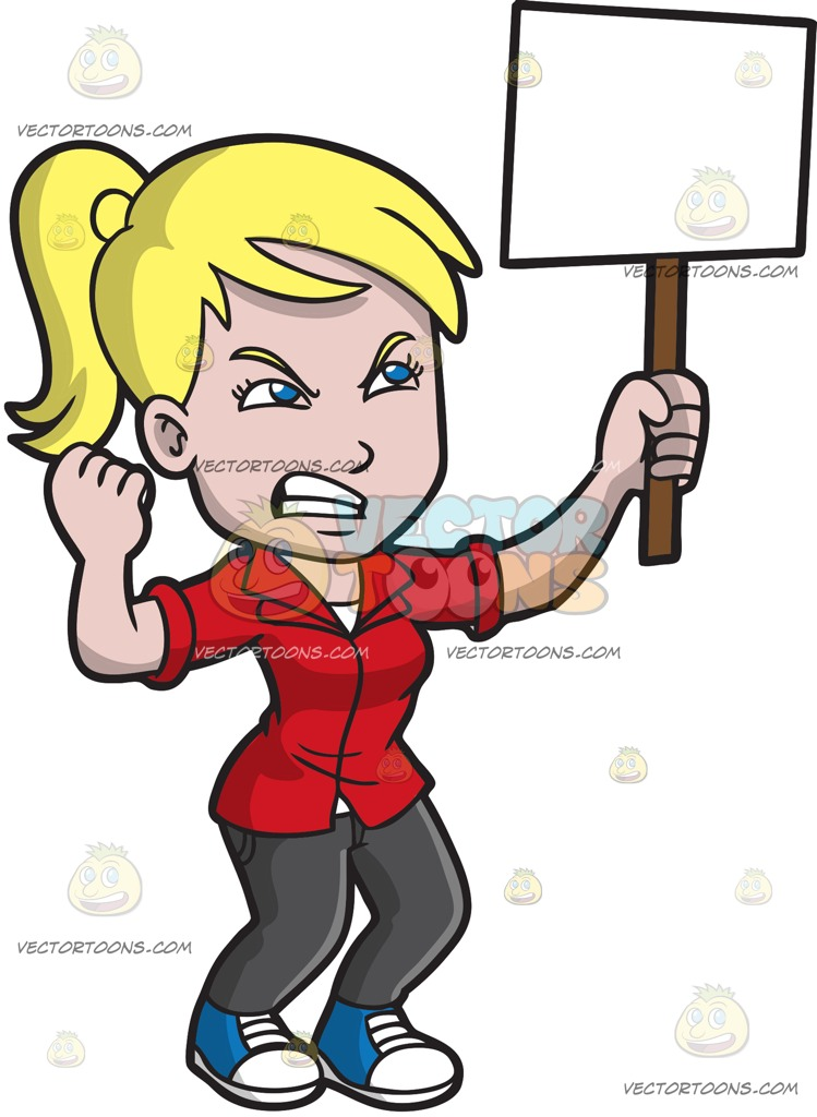 An outraged in cartoon. Woman clipart protest clip art library stock
