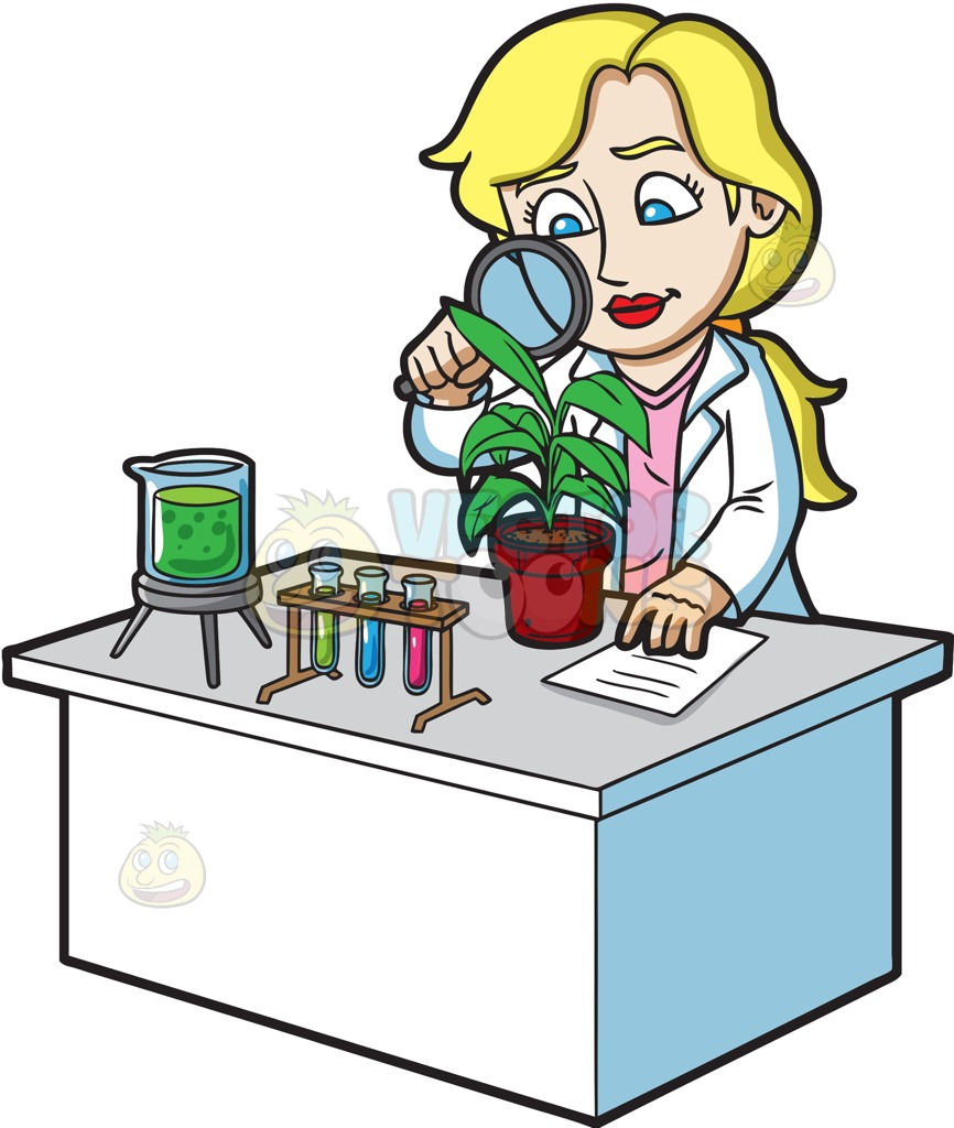 Woman clipart science. A female scientist studying graphic black and white stock