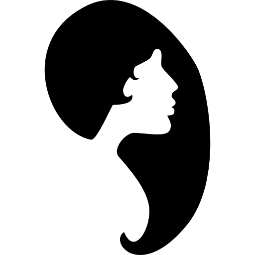Woman face silhouette png. Female hair shape and