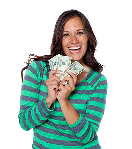 Woman holding money png. Sell gold to the