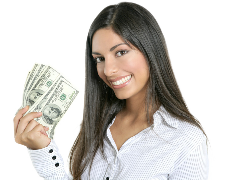 Woman holding money png. Frontpoint financial los angeles