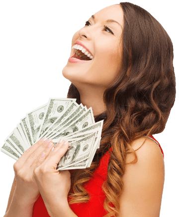 Woman holding money png. Cash rewards amwager her