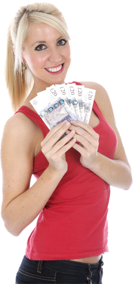 Woman holding money png. Need cash fast get