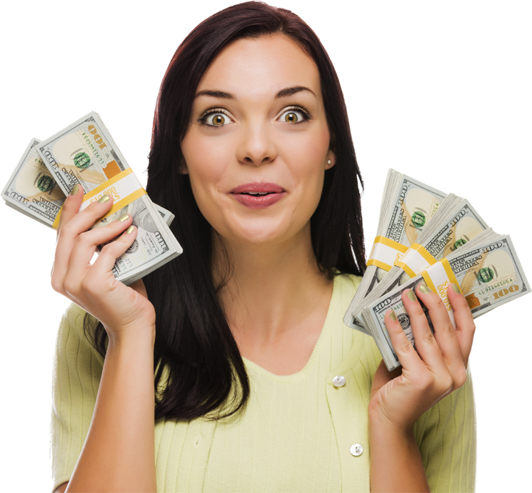 Woman holding money png. Listo loans personal signature