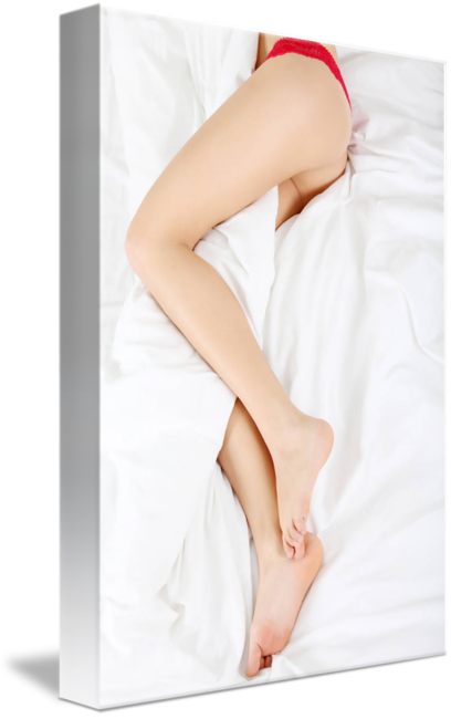 Woman legs png. On bed by b