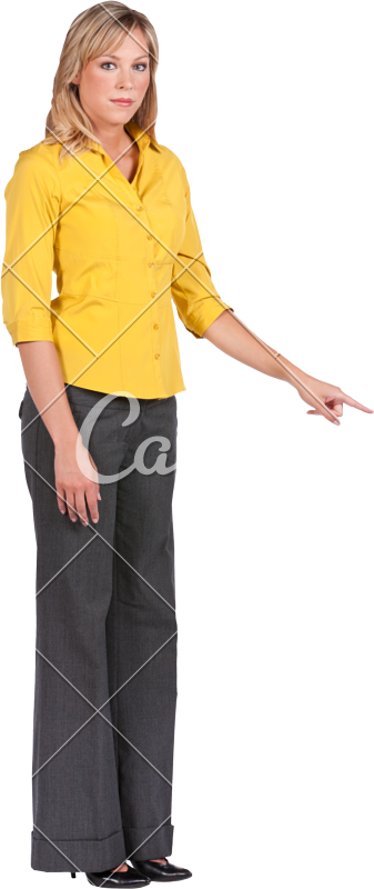 Woman pointing png. Blond business photos by