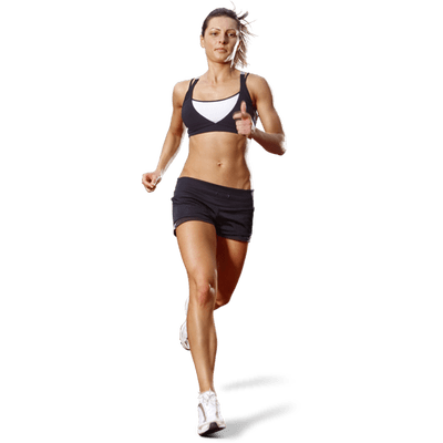Woman running png. Front transparent stickpng