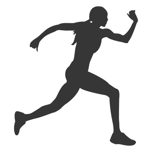 Woman running silhouette png. Female transparent svg vector