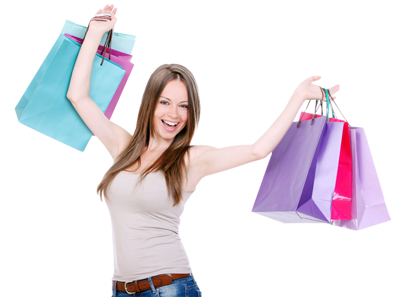 Woman shopping png. Girl with bags transparent