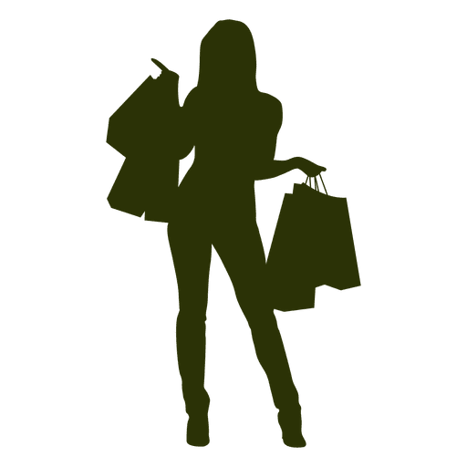 Woman shopping silhouette png. Happy transparent svg vector