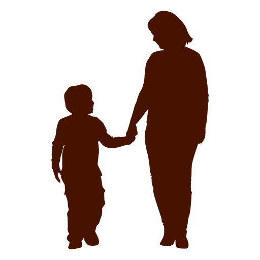 Woman walking with child png. Mom holding kid family