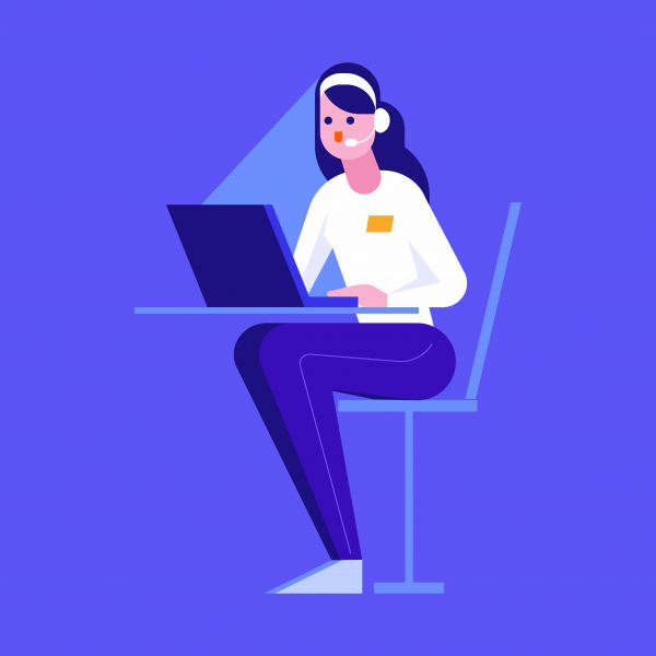 Woman with headset on her head sitting on a chair at the table and working on the notebook falt vector illustration