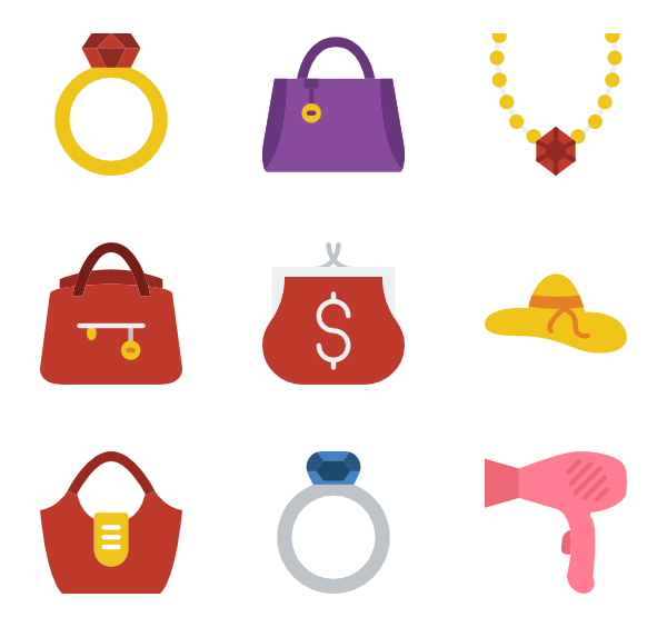 Women accessories png. Icons free vector woman