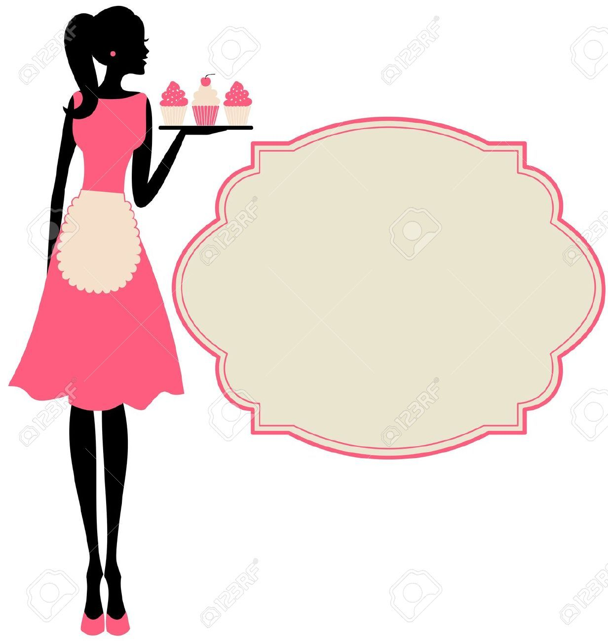 Women clipart bakery. Awesome vintage clip