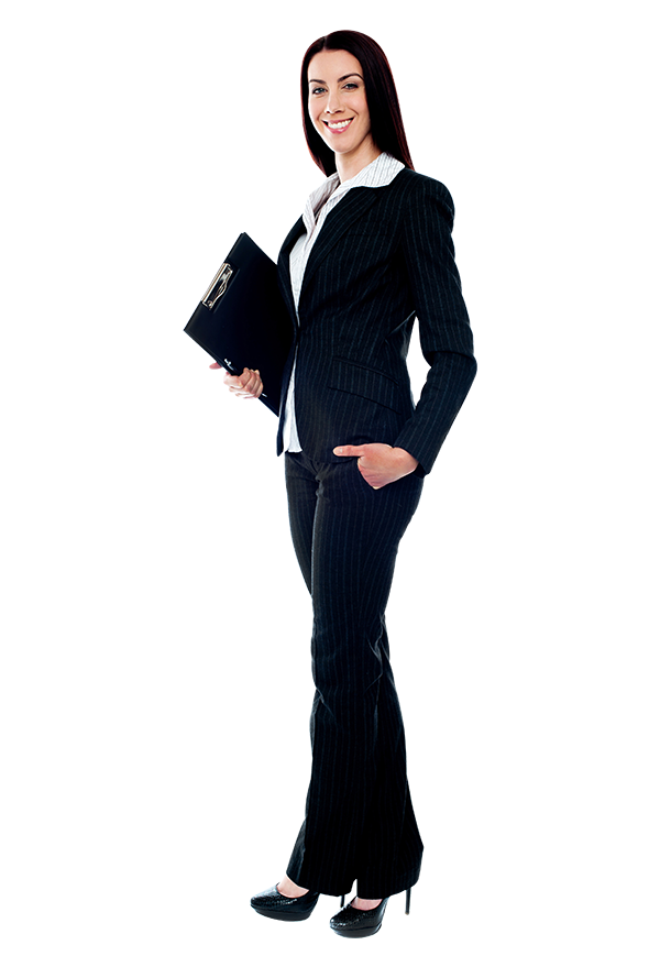 Women full body png. Business woman standing save